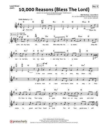 10000 Reasons Sheet Music PDF - Free Download (PRINTABLE)