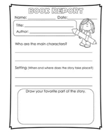 1st Grade Book Report Template PDF - Free Download (PRINTABLE)