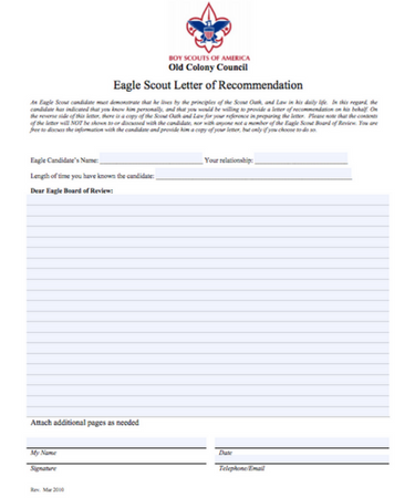 eagle scout letter of recommendation eagle scout letter of recommendation free template 1193