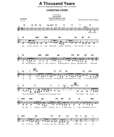 A Thousand Years Piano Sheet Music Pdf Free Download Printable