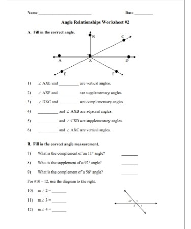 Angle Relationships Worksheet PDF - Free Download (PRINTABLE)