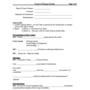 court of honor script
