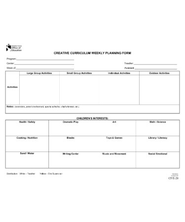 Creative Curriculum Lesson Plan Template PDF PRINTABLE - Pdf lesson plan template