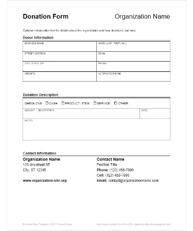 Donation Form Template PDF - Free Download (PRINTABLE)