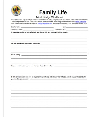 family life merit badge worksheet pdf - Family Life Merit Badge Worksheet