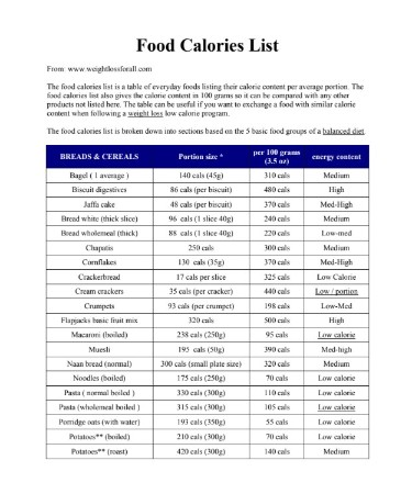 Food Calorie Chart Pdf Free Download Printable