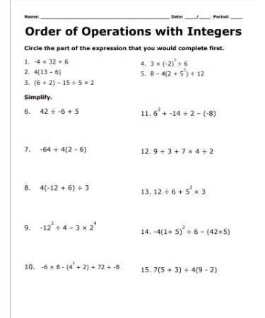 Operations With Integers Worksheet PDF   Free Download ...