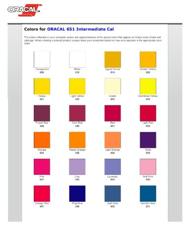 Oracal 651 Color Chart Pdf Free Download Printable