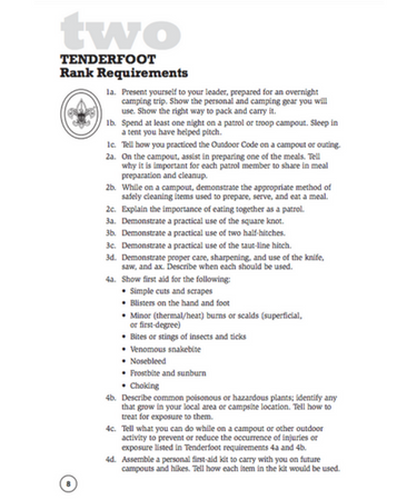Tenderfoot requirements