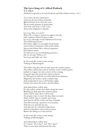 the lovesong of j alfred prufrock