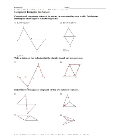 Triangle Congruence Worksheet Pdf Free Download Printable