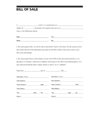 vehicle bill of sale template fillable pdf free download printable