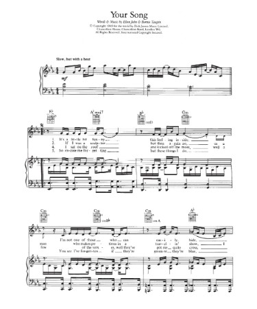 Your Song Sheet Music PDF