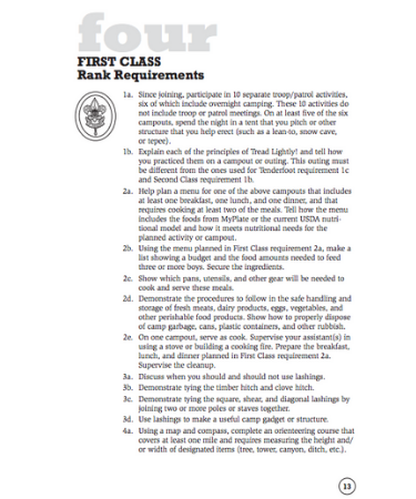 first class requirements