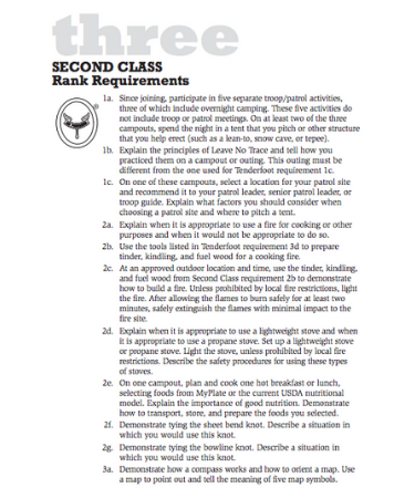 second class requirements